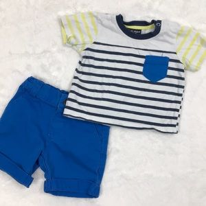 Other - Striped Shirt and Blue Shorts, size 9 months